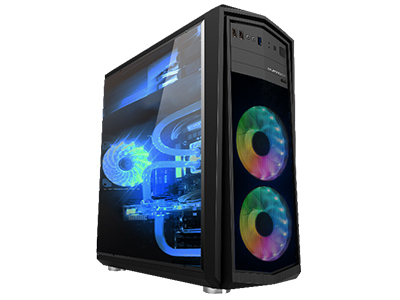 彩虹Ⅲ黑  面板铁网,USB3.接口,侧板全透明亚克力;长382*宽180*高457mm