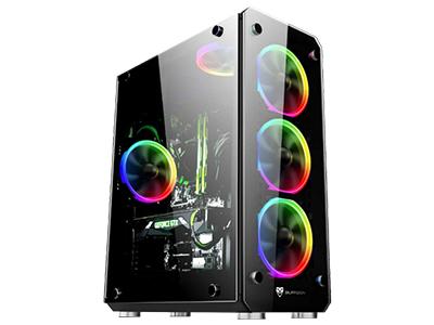 彩虹V  面板、侧板钢化玻璃,面板可加装3把炫彩风扇;长385*宽180*高420mm