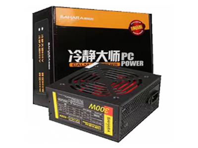 500V静音版(彩盒)  额定功率:300W,被动式PFC,彩色包装盒,黑色电源外壳.红色扇叶,加长线材,完美支持背部走线.
