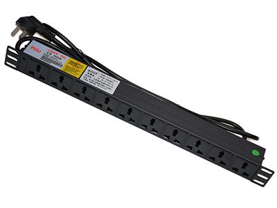 1.5平方2米线10A插头,10孔10A万用孔+1位指示灯,1U BLD- -O2-1U- M10-S1