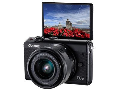 佳能  EOSM100 15-45 微单相机 功能:WIFI连接,翻转自拍滤镜直径:49mm类型:单镜头套装用途:人物摄影,风光摄影,美颜自拍,其他像素:2001-4000万传感器尺寸:APS-C画幅