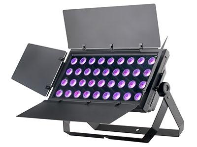 """36颗10W 四合一LED平板灯 YR-W1036Q   """"光源参数:    光源:36x10W(RGBW四合一) 出光角度:40度(透镜) 控制参数: 频闪:0-30Hz 调光:标准模式+4种调光曲线 控制信号:DMX512 控制通道:11通道、6通道(可切换) 内置编程:5种频闪+6种自走+2种声控 操作模式:DMX512、手动、主从、声控 冷却方式:温控风扇智能散热 温控:当光源温度达到80度时,光源最大功率降为50\%;当温度再次下降到65度时,最大功率恢复为100\% 噪音:风扇智能调节,冷启动风扇低速静音转动,温度升高风扇"""