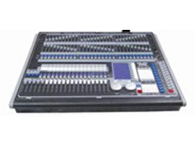 """珍珠控台  YR-2010 """"四个光电隔离独立驱动信号输出端口,共2048个DMX控制通道,可以控制最多240台计算机灯和240路调光,内置320×240显示器和外接VGA显示所有操作变化及输出。15个重放杆,可以存储450个程序。程序及配接信息可通过USB进行备份及装载采用流线设计,比珍珠2008外观升级。可控240台独立地址码的电脑灯; 控制常规灯、换色器和电脑灯的通道可以配置在同一按钮上。 性能参数 内置闪存驱动器可容纳: - 3000个灯库 - 100多个演出程序 - 外置移动储存卡 配置时的选灯方法升级"""