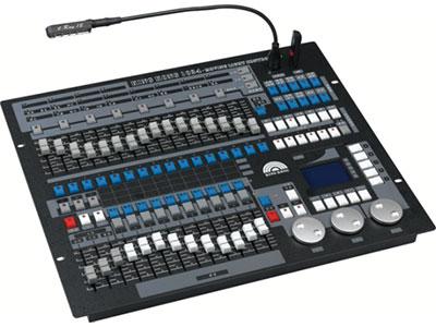"""1024控台  YR-1024 """"1、DMX512/1990标准,最大≥1024个DMX控制通道,光电隔离信号输出; 2、最大控制≥96台电脑灯或≥96路调光,使用珍珠灯库; 3、内置图形轨迹发生器,有≥135个内置图形,方便用户对电脑灯进行图形轨迹控制,如画圆、螺旋、彩虹、追逐等多种效果,图形参数(如:振幅、速度、间隔、波浪、方向)均可独立设置; 4、≥60个重演场景,用于储存多步场景和单步场景。多步场景最多可储存600步; 5、带背光的LCD显示屏,中英文显示; 6、关机数据保持; 7、U盘备份和升级,U盘读取:支持F"""