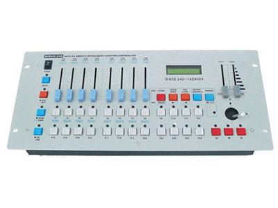 """240控台  YR-240Z """"电源输入:DC9 - 12V的300mA •音频输入:通过内置麦克风或line-in ,100mv-1Vpp的DMX输入/输出 •3针公/母卡侬接口 •MIDI 入:5针接口 •最多可控制12台电脑灯,每台电脑灯最多16通道 •可编程30个记忆储存,每个可储存8个场景 •6个可编程步序,每个编程步序可以编240步. •8个通道控制推子 •一个可设置的摇杆装置 •两个控台间的数据"""