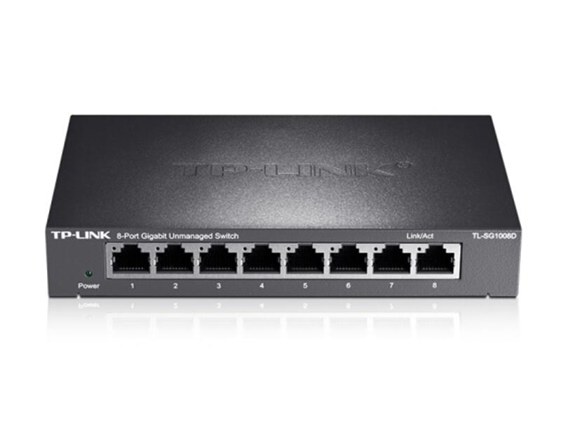 TP-LINK 8口千兆交换机 企业级交换器 监控网络网线分线器 分流器 金属机身 TL-SG1008D