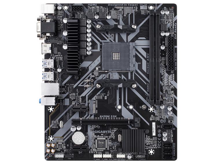 技嘉主板/B450M S2H(VGA+DVI+HDMI+M.2+PCI-E)