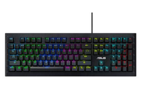 华硕键盘/GK1100(黑/激战系列/幻彩背光RGB/电竞机械游戏键盘/Cherry MX青轴)