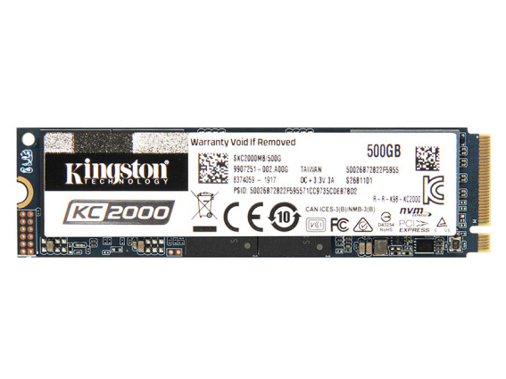 金士顿 KC2000系列M.2接口 NVMe协议 PCLe*4 500G 1T