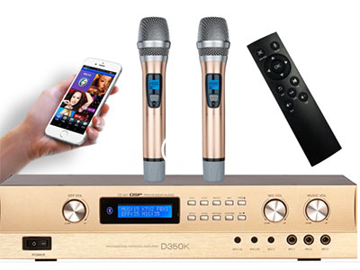"QSN(英国)  D350K""功放+点歌机+效果器+话筒=四合一体机 诚"" ""特点: 1,集多功能唱歌娱乐于一身,只要一台机器配一对音箱就能开唱,  2,配专业的KTV数字混响效果芯片,唱歌效果一流 3,带点歌机功能,配专业的KTV点歌模块;可连接WIFI,用手机微信扫一扫点歌,遥控器点歌,话筒语音点歌,方便致极;歌曲永久免费在线更新; 4,可在线看电视直播,电影,听音乐,广场舞等, 5,配套2T容量的标准3.5寸全新进口硬盘,内置3W多首歌曲 6,配蓝牙功能,可连接手机等播放音乐  7,配备中控系统,可受智能家居系统控制 8,智能化操作系统,CPU全数码调节所"