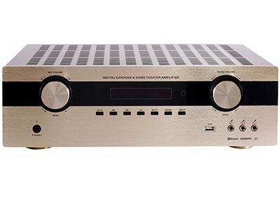 "QSN(英国) KF5706通道家庭影院可唱K数码功放 ""最新32比特,TI(德州仪器公司)DSP解码IC,可解码:Dolby True HD/ Dolby Digital Plus / Dolby Digital / DTS-HD Master Audio / DTS ES) HDMI :4进2出 ( 4K 高清) ,同时带 光迁 2路 ,同轴 2路,3组话筒输入 蓝牙接收,USB播放,一组录音输出,一组低音输出,各声道设\10段均衡调节 精选纯正进口的大功率三极管,加以精准配对使用,动态好,工作稳定。 具有全面的智能保护电路措施:削波压裂电路,直"