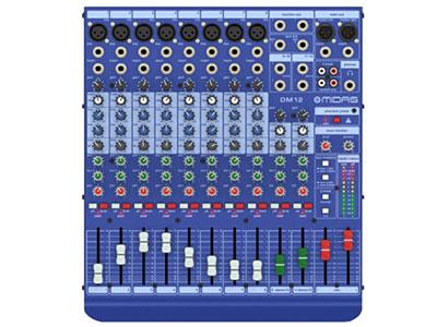 "ALLEN&HEATH  DM 1212路话放现场/录音模拟调音台 ""适用于现场扩声和录音室的12/16路输入通道模拟调音台 内置8/12个MIDAS经典话放 2路电控平衡1/4"" TRS的立体声输入通道 每个单声道输入通道带3段均衡,中频可扫频 2路推子前/后切换辅助输出 带自动修正的万能开关型电源"""