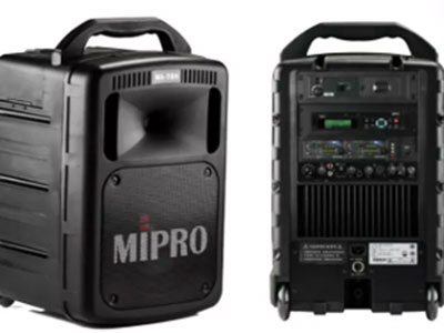 """咪宝  MA-505/ACT32T/MU53HN*2 (带DPM3) 蓝牙版 """"放大器:最大输出145W,失真﹤1\%,频响50Hz~18Hz;灵敏度:正常91dB,最大109dB;喇叭系统:1寸号角高音、8寸纸蓝氏中低音的双音路系统; 涵盖角度:130°×V90°; 音源输入:有线麦克风:XLP平衡式及6.3mm不平衡式, 无线麦克风:最多可安装4组接收模块,放音座:DPM-3/CDM-2/DPM-3P,LINE信号:3.5mm不平衡插座; 音源输出:3.5mm不平衡LINE OUT插座;蓝牙功能:有; 外接喇叭:6.3mm输出插座;音量控制:各种输入音量独立控制;"""