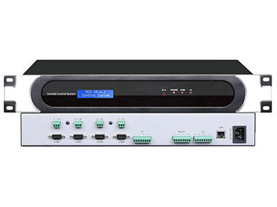 "Meijes  8串口中控主机ME-800 ""1、内置1路双向232/485接口可连接有线可编程触摸屏可实现一键开关机  2、支持远程协助编程,上传程序,方便后期售后维护工作。  3、同时兼容ANDROID、WINDOWS、lOS、工业射频无线触摸屏控制;方便操作人员进行控制。 4、主机3.8英寸LCD液晶显示屏,方便查看状态信息,网络设置,IP地址等等。 5、1个RS-232/485控制接口;8个RS-232控制接口; 6、4路IR/串行输出端口 7、4路继电器端口 8、超快1600MIPS处理器; 9、256M DDR內存,1"