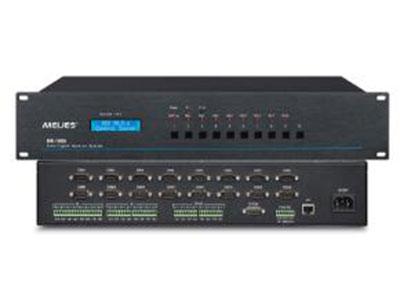"Meijes  16串口中控主机ME-1600 ""产品特性 1. 支持TCP/UDP网络协议,可向指定的IP地址发送TCP/UDP命令,且没有限制IP数量 2. 内置4路双向232/485接口可连接有线可编程触摸屏可实现一键开关机  3. 支持远程协助编程,上传程序,方便后期售后维护工作。                           4. 同时兼容ANDROID、WINDOWS、lOS、工业射频无线触摸屏控制;方便操作人员进行控制。 5. 主机3.8英寸LCD液晶显示屏,方便查看状态信息,网络设置,IP地址以及ICS LAN端口状态"