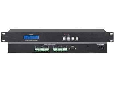 """音量控制器ME-VOL3 """"1、三路CD级音量控制,采用裸线凤凰端子接口; 2、具有手动和中控或电脑集中控制调音功能; 3、断电后最后一次状态保存功能; 4、显示屏实时显示各通道间量大小的功能,20段显示精度; 5、具有静噪处理; 6、音量淡出处理功能(音量是慢慢达到上次音量大小状态); 7、具有预设效果处理; 8、兼容线形话筒调音; 9、具有RS232通讯控制功能;; """""""