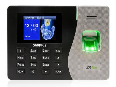 中控 指纹识别考勤终端S60plus 2.8寸高清彩屏 用户数1000人 指纹容量2000枚记录容量80000条