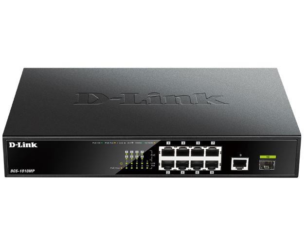 D-LINK  DGS-1010MP 10口千兆非网管POE交换机 8个千兆PoE电口+1个千兆电口+1个千兆光口