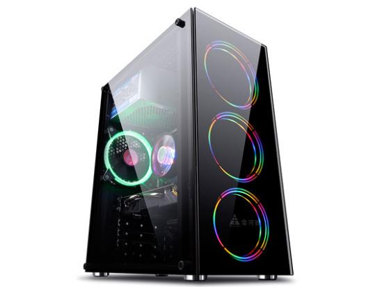 金河田炫豪3电脑机箱水冷游戏台机主箱atx大板酷炫diy透明大机箱