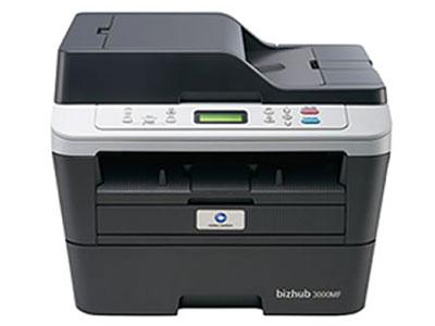 美能达  bizhub 3000MF 黑白激光一体机 多效全能:高清彩色扫描*、自动双面、自动输稿器*、有线网络* 人性设计:LED液晶显示屏*、大容量纸盒、鼓粉分离、身份证一键式多份复印*、直通式纸道