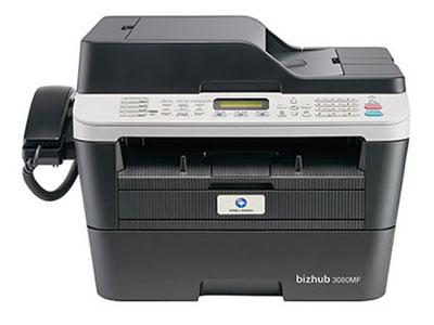 美能达 bizhub 3080MF 黑白激光一体机 多效全能:高清彩色扫描*、自动双面、自动输稿器*、有线网络* 人性设计:LED液晶显示屏*、大容量纸盒、鼓粉分离、身份证一键式多份复印*、直通式纸道