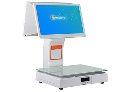 智崎186-w称重收银一体PC秤工控主板、内置wifi、内置音响、大齿轮打印机、钢化玻璃秤盘、触摸按键