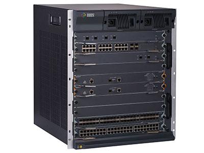 信锐  模块化框式核心交换机S7510 1、采用分布式多级交换矩阵架构,搭载高性能交换芯片和多核处理器;2、支持高密度万兆业务板,并且实现板卡间三层全线速无阻塞交换;3、高精度BFD双向链路检测机制和以太网OAM机制,实现故障快速检测及定位;4、采用冗余设计,支持无中断保护、检测机制,具备高可靠的软硬件设计;5、支持虚拟化集群交换技术,相比独立物理设备具备高可靠性、灵活性、易管理等特性;6、支持完善的二三层组播路由协议、超大容量路由表;7、支持IPv6协议族,支持IPv6组播特性及三层路由协议,支持丰富的IPv4向IPv6过渡技术;8、具备设