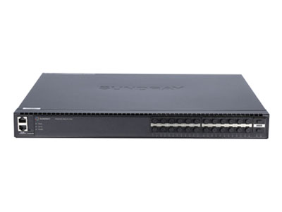 信锐  RS6300-26Q-EI-24X万兆汇聚交换机 1、整机提供24个万兆SFP+光口,2个40G QSFP+光口,双电源冗余;2、支持胖瘦模式切换,瘦模式下零配置上线管理,实现即插即用;3、支持无线AC集中配置管理,包括端口信息、VLAN、端口开关等;4、支持可视化状态查看,包括交换机负载、转发负载、在线状态、开关状态;5、具备安全特性,支持与无线网络设备、安全设备联动实现更安全的网络管控;6、满足大型组网需求,适合作为大型校园网、企业网、IP城域网建设接入设备;