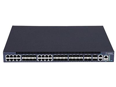 信锐  RS5300-28X-EI-24S千兆汇聚交换机 1、提供24个千兆光口(其中16个可复用为千兆电口)、4个10G SFP+光口,2个QSFP堆叠端口;2、支持胖瘦模式切换,瘦模式下零配置上线管理,实现即插即用;3、支持无线AC集中配置管理,包括端口信息、VLAN、端口开关等;4、支持可视化状态查看,包括交换机负载、转发负载、在线状态、开关状态;5、具备安全特性,支持与无线网络设备、安全设备联动实现更安全的网络管控;6、满足大型组网需求,适合作为大型校园网、企业网、IP城域网建设接入设备;