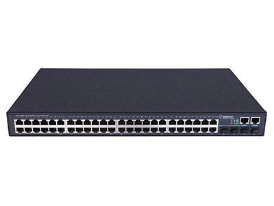 信锐  RS3300-52T-4F 安视48口千兆三层交换机 1、整机提供52个固定端口,含48个千兆电口、4个千兆SFP光口;2、支持胖瘦模式切换,瘦模式下零配置上线管理,实现即插即用;3、支持无线AC集中配置管理,包括端口信息、VLAN、端口开关等;4、支持可视化状态查看,包括交换机负载、转发负载、在线状态、开关状态;5、具备安全特性,支持与无线网络设备、安全设备联动实现更安全的网络管控;6、满足大型组网需求,适合作为大型校园网、企业网、IP城域网建设接入设备;