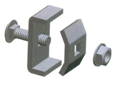 厚德纜勝  卡扣 ◎ 用于:(1)兩片網絡橋架直段的連接;(2)轉彎處的固定  ◎ 適合:4.0mm到6.0mm的絲徑  ◎ 包括:上卡扣×1、下卡扣×1、M6×20馬車螺栓×1、M6法蘭螺母×1  ◎ 特點:(1)有較好有連接強度;(2)通用性好