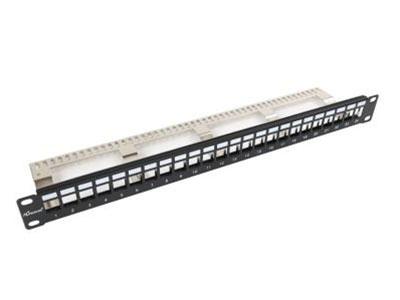 厚德纜勝  6A類屏蔽配線架 ●  采用金屬配線空板結構,保證了產品更高的機械強度  ●  采用模塊化屏蔽設計,并有效防塵,整體接地套件有效保證接地  ●  采用卡接模塊化設計,方便維護人員操作,所安裝的模塊為可拆卸式模塊  可以單獨端接后分別插入面板內,并在出現故障時可以僅拆下(或更換)該模塊,  不致影響到其他模塊的端接或正常運行  ●  包含24個6A類屏蔽模塊  ●  金針:磷青銅、表面鍍金  ●  IDC端子:磷青銅  ●  安裝板:冷軋鋼板  ●  插頭與插座的插合次數≥1000