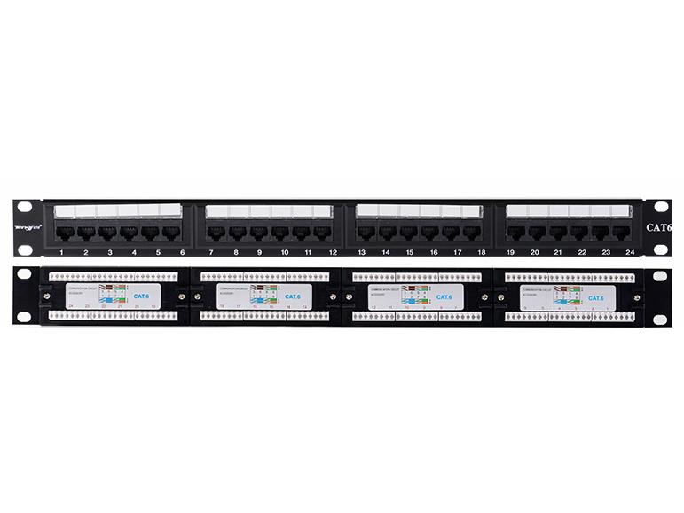 腾飞六类机柜式非屏蔽24口网络配线架工程网线千兆配线架