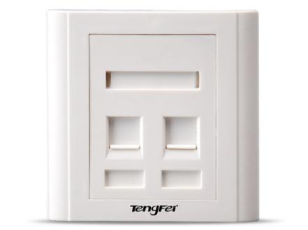 腾飞tengfei 双口面板带防尘盖网络模块面板RJ11电话面板86空白面板电脑接口