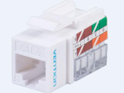 威迅  六类非屏蔽网络模块白色塑胶款 接口类型RJ45 外壳材质ABS+PC 卡接导体线规22-26AWG 金针磷青铜表面镀金 IDC簧片磷青铜
