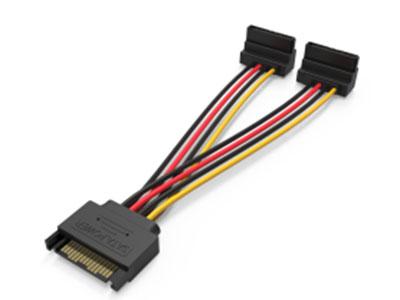 威迅KDB系列SATA15Pin一分二硬盘延长线弯直头黑色0.15米 导体材质镀锡铜 插头材质PBT 线身PVC