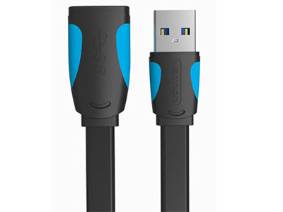 威迅  USB3.0 延长线扁线 版本USB3.0 接头类型USB3.0 A 公 /USB3.0 A 母 接口工艺镀镍 导体镀锡铜 线规30AWG 屏蔽层铝箔 外被材质PVC 传输速度5Gbps