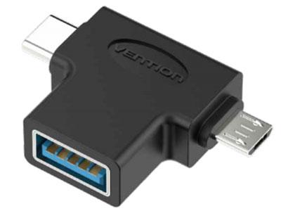 威迅CDI系列安卓OTG转接头黑色 外壳材质PVC 接口类型Micro USB, Type-C, USB3.0 接口工艺镀镍 分辨率1080P 60Hz
