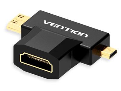 威迅  迷你HDMI+微型HDMI转HDMI母转接头黑色  版本类型:HDMI 1.4 接口类型;HDMI母头,迷你HDMI公头,Micro HDMI公头 接口工艺镀金 分辨率;1080P 传输方向;Mini HDMI / Micro HDMI转HDMI