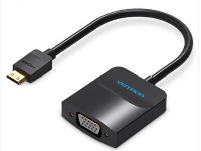 威迅  Mini HDMI转 VGA 转换器(带音频和供电) 外壳材质ABS 接口类型HDMI C 公/VGA 母/3.5mm 母/USB2.0 Micro-B 母 接口工艺镀金 分辨率1080P 60Hz 转换方向Mini HDMI 转VGA 导体无氧铜 长度0.15 米
