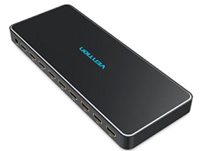 威迅  HDMI一进八出高清分配器金属款黑色 接口类型HDMI母口 外壳材料铝壳 芯片IE6662 分辨率4K 30hz ,且向下兼容 接口工艺镀金 供电接口3.5x1.35mm,DC5V/2A HDMI版本HDMI 1.4 输入1*HDMI 输出8*HDMI