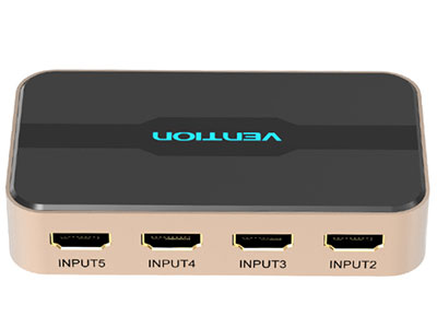 威迅  五进一出 HDMI 切换器 外壳材质铝合金+ABS 接口类型HDMI A 母/DC 3.5*1.35mm 接口工艺镀金 分辨率4Kx2k@30Hz/1080P@60Hz 尺寸105mmx59mmx20mm 电流5V/1A 转换方向HDMI 输入*5/HDMI 输出*1