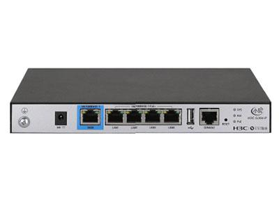 H3C G304-P企业级多业务网关 外形尺寸(宽×深×高)  220mmx145mmx27mm  满配重量  1.4kg  接口  4*GE(PoE+)+1*GE  AP管理数字  默认4放装/8面板,可扩展到8放装/16面板
