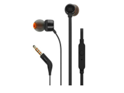 JBL T110 入耳 式耳机 AUX3.5,线控,扁平线缆,苹果、安卓 通用,带麦