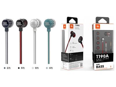 JBL T190A 立 体声入耳式耳机 AUX3.5,线控,扁平线缆,苹果、安卓 通用,带麦