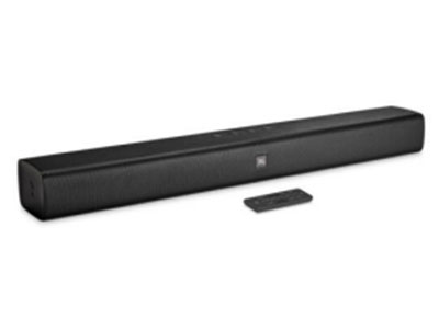 JBL BARSTUDIO2.0 影霸2.0 最大功率:30W 喇叭单元数:2*2低音、2*1.5高音 支持HDMI回传 接口:光纤、AUX、HDMI 蓝牙:4.2 尺寸:614*58*84 (W*H*D) 重量:1.4kg