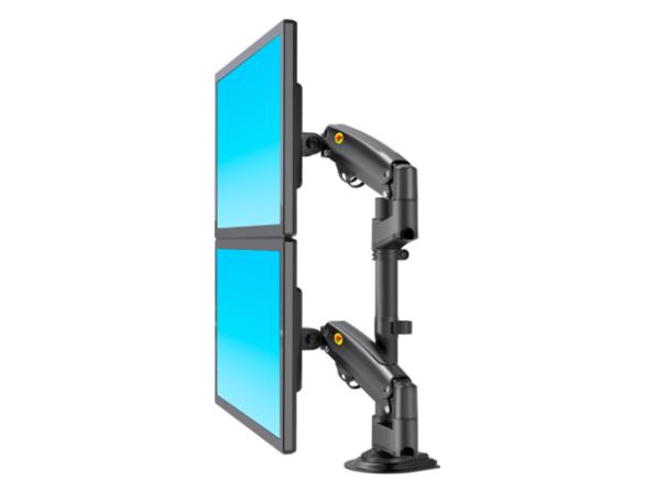 NB-H180 立杆显示器支架,适用尺寸22-32寸,航空铝材加工程塑料,二代气压弹簧,上下左右360度旋转,臂长550cm,安装方法穿孔+加式,承重2-12KG