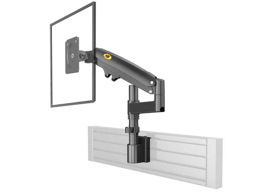 NB-M60 屏风立杆显示器支架,适用尺寸17-27寸,航空铝材加工程塑料,二代气压弹簧,上下左右360度旋转,臂长550cm,卡装,承重2-12KG