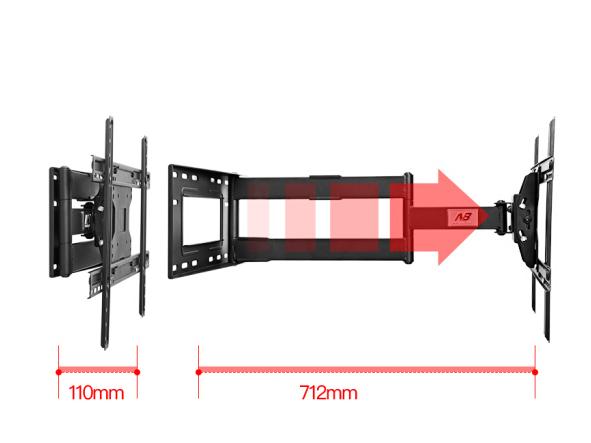 NB-SP2 电视伸缩壁挂支架(40-70英寸)伸缩110-710MM,承重68KG,最大孔距600*400