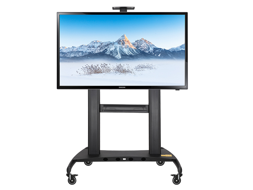 NB-AVT1800-100-1P电视移动,视频会议推车,适用尺寸60-100寸,升降高度1100-1700MM,铝合金材质,承重136.4KG,支持安装孔位600*1000